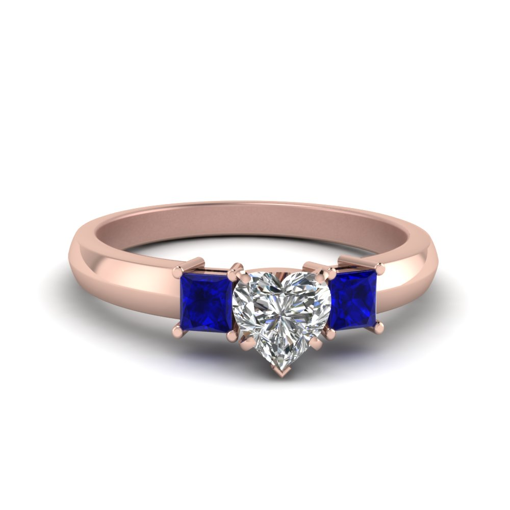 heart shaped glossy basket engagement ring 3 stone with sapphire in FDENR264HTRGSABL NL RG