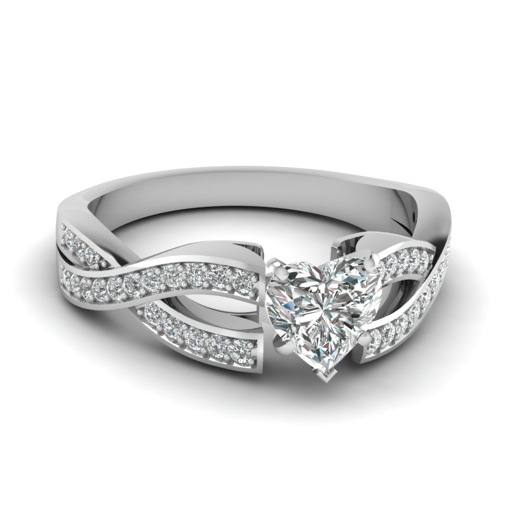 Elegant Heart Diamond Split Shank Engagement Ring