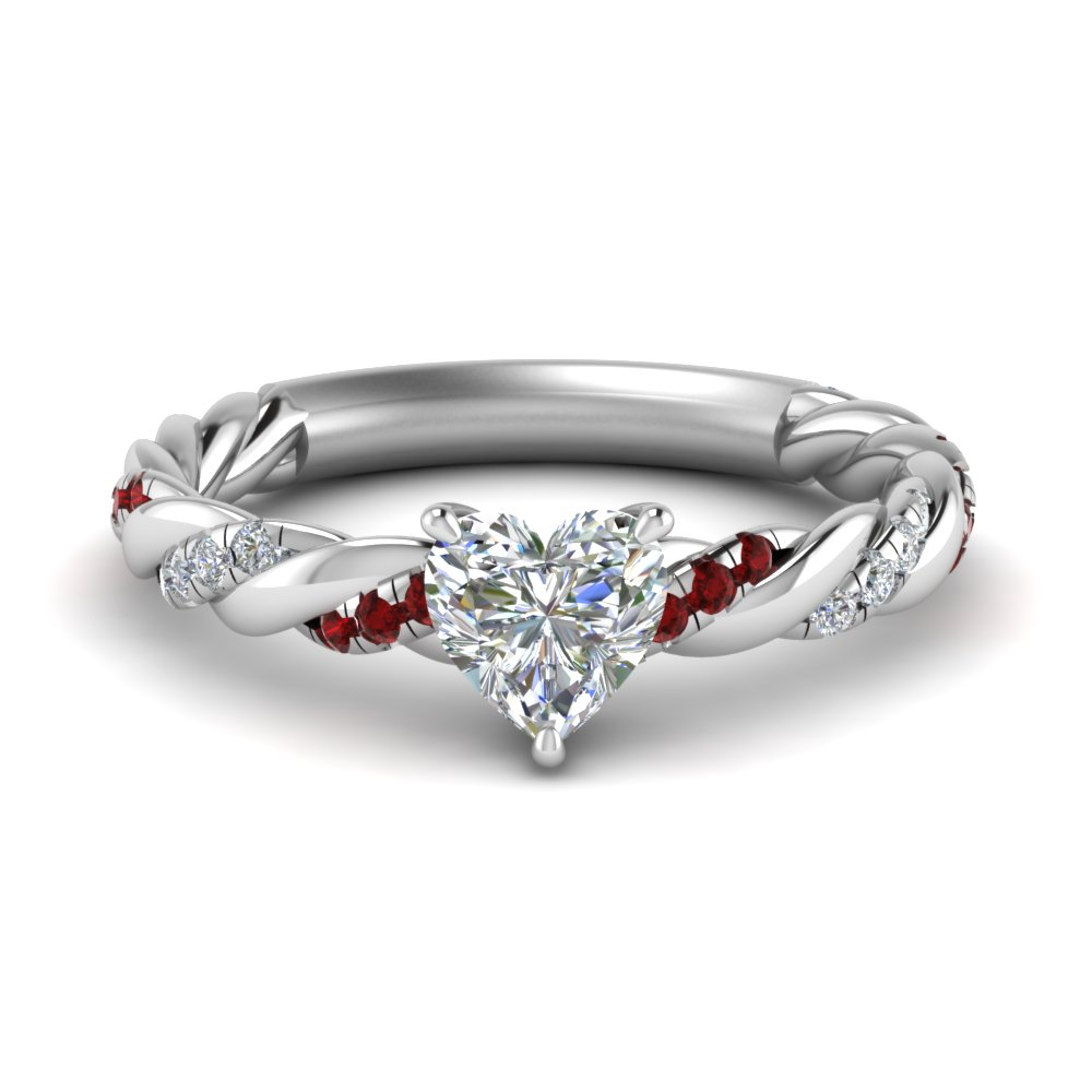 heart shaped twisted delicate diamond engagement ring with ruby in FD9127HTRGRUDR NL WG