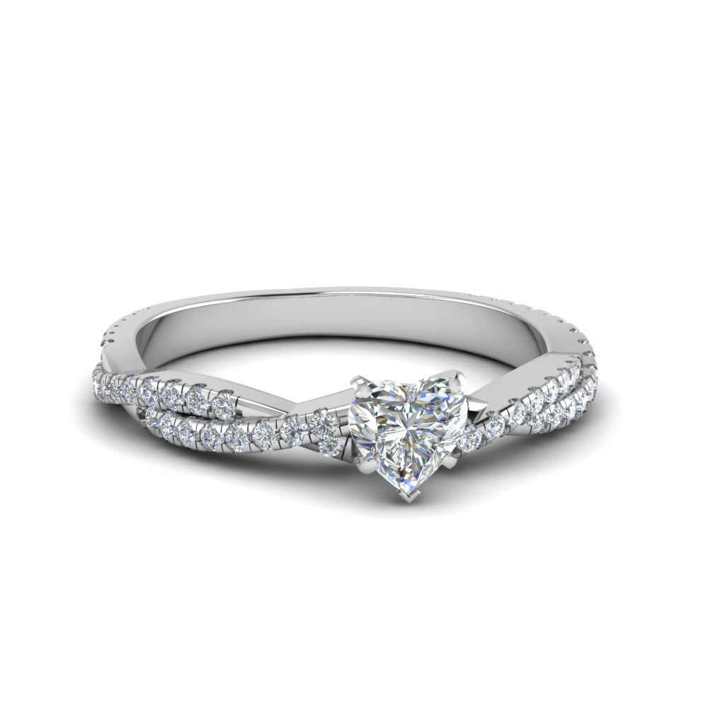 Heart Diamond Twisted Vine Engagement Ring