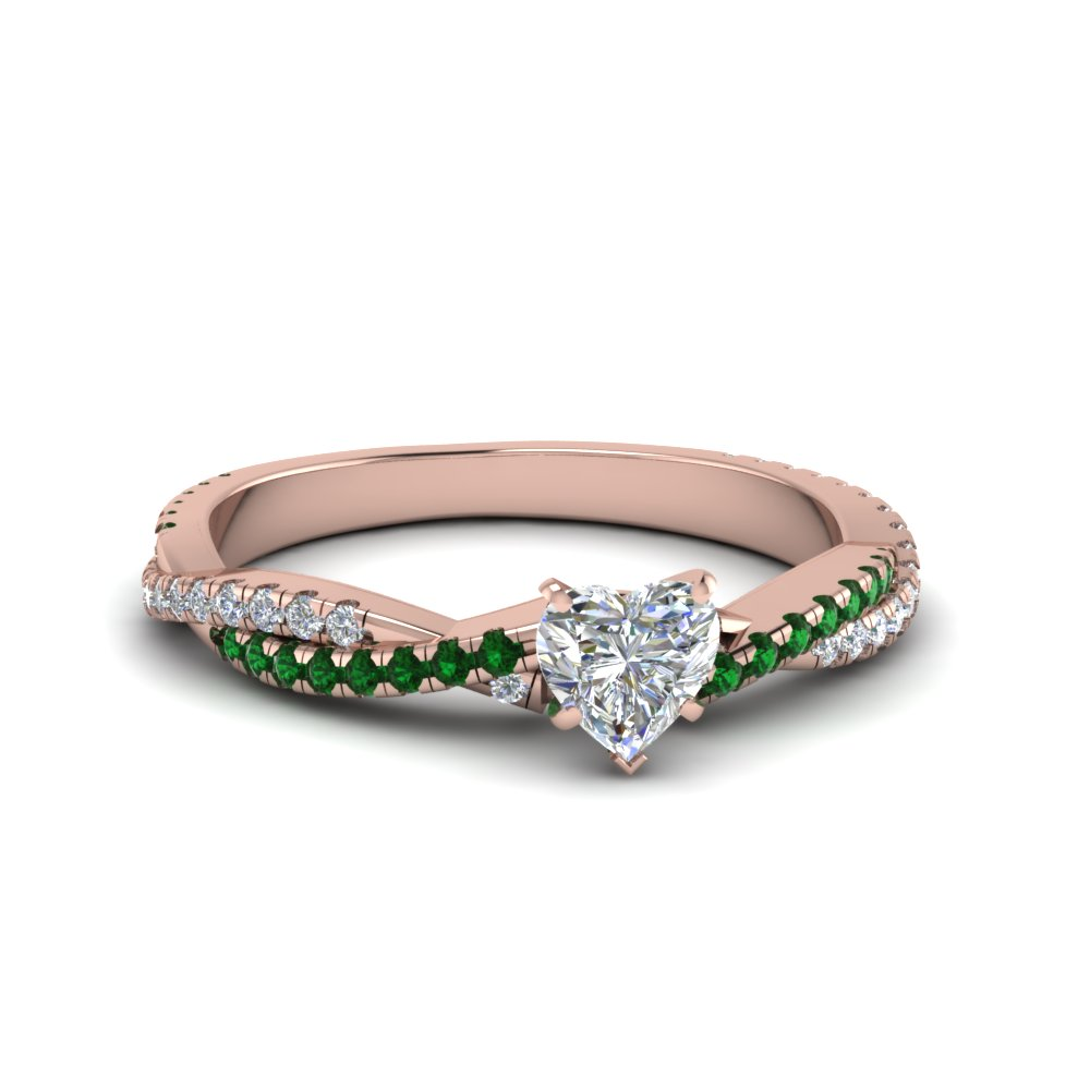heart shaped twisted vine diamond engagement ring for women with emerald in 18K rose gold FD8233HTRGEMGR NL RG