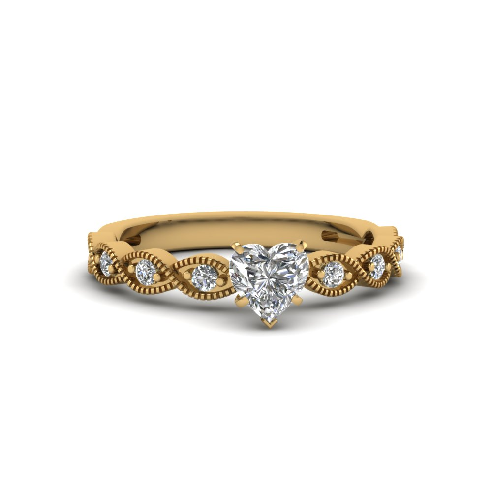 Half Carat Heart Diamond Ring For Her