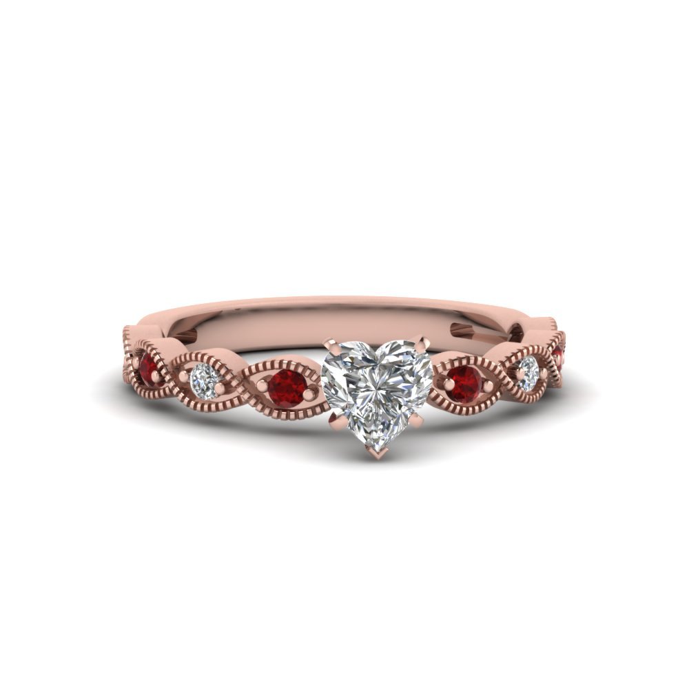 heart shaped twisted vintage diamond engagement ring with ruby in 18K rose gold FDENS3052HTRGRUDR NL RG