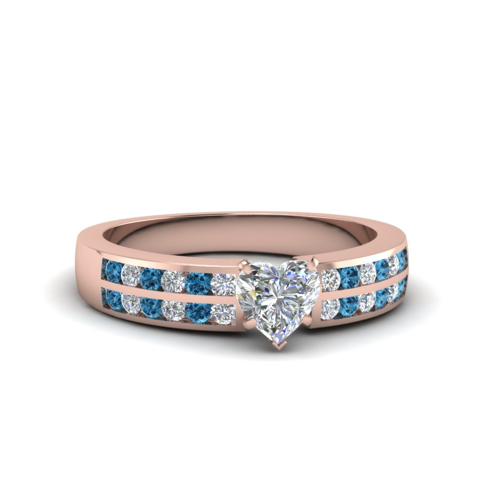 heart shaped two row channel diamond ring with blue topaz in 14K rose gold FDENS3119HTRGICBLTO NL RG