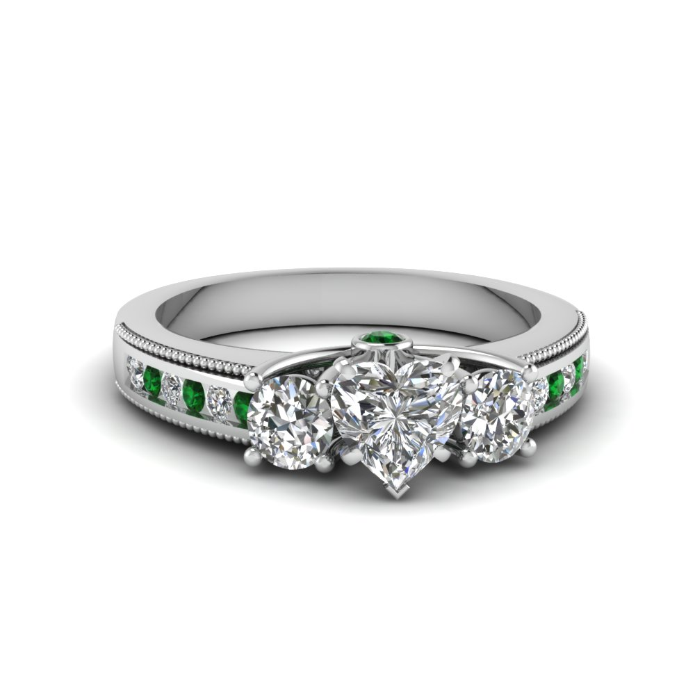 3 Stone Milgrain Engagement Ring