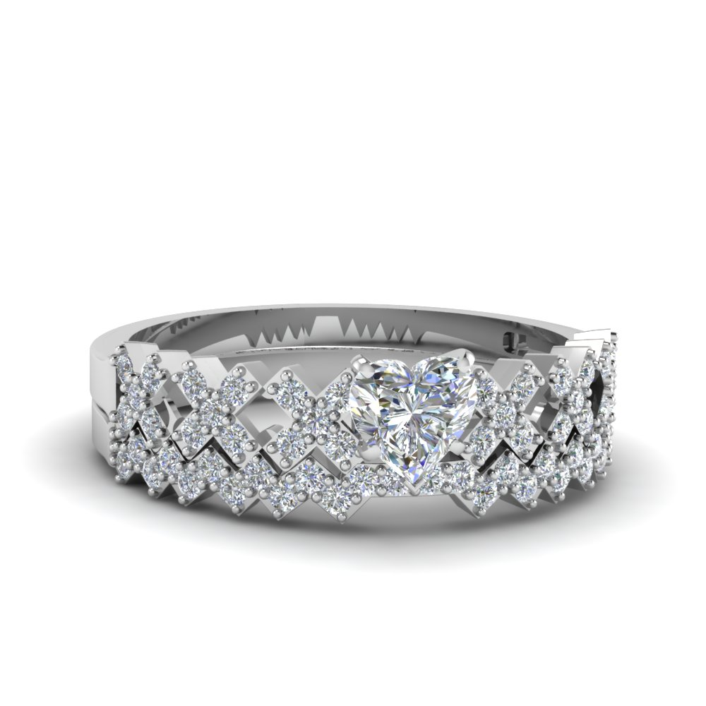 Unique X Design Diamond Wedding Set