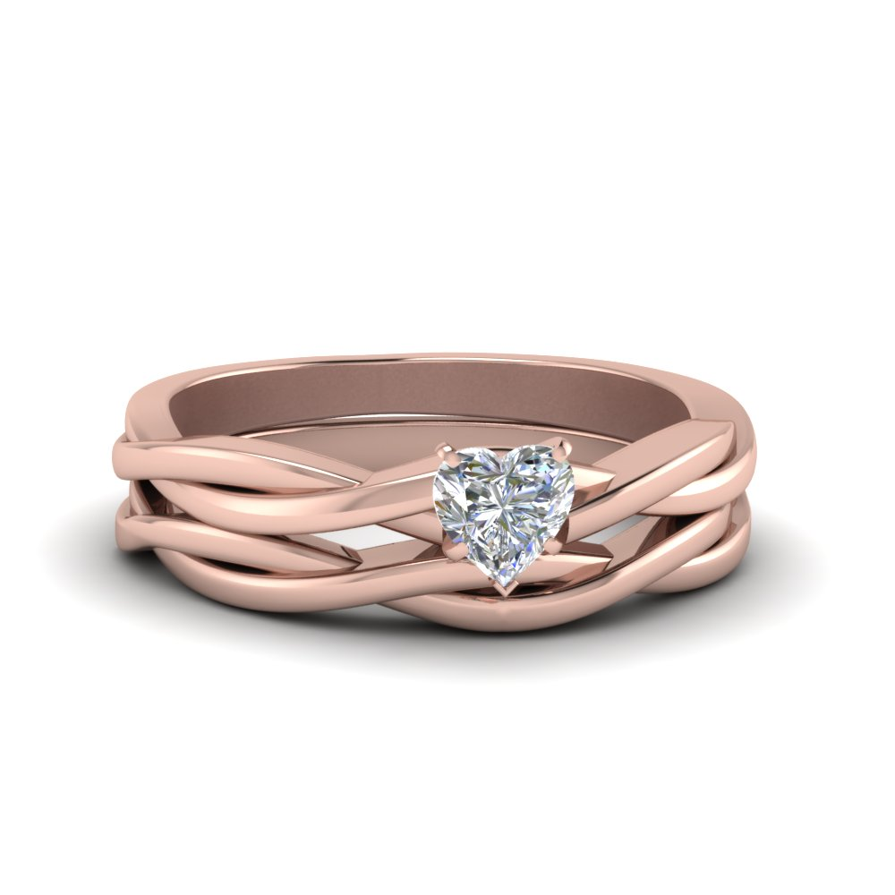 Rose Gold Heart Cut Wedding Sets