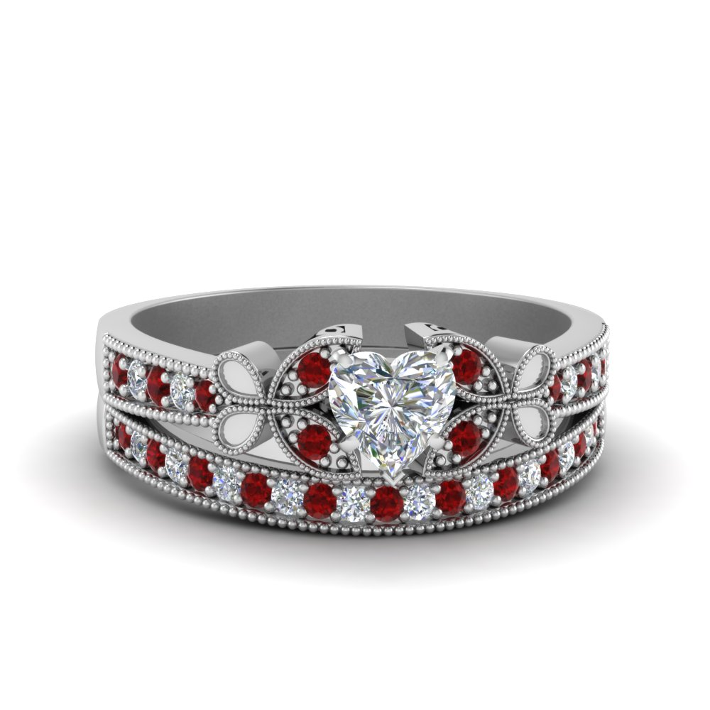 Heart Shaped Red Ruby Wedding Sets