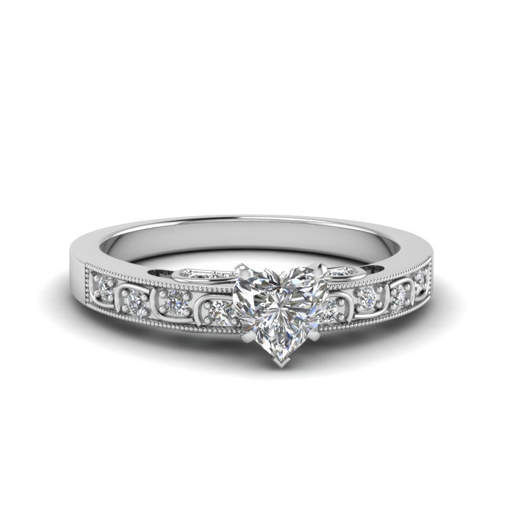 heart shaped vintage style pave diamond ring in FD62292HTR NL WG