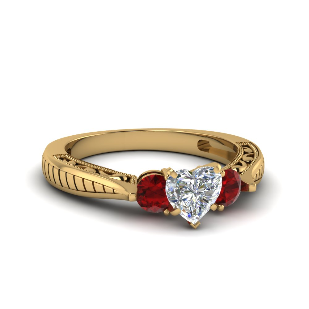Heart Shaped Vintage Style Three Stone Engagement Ring