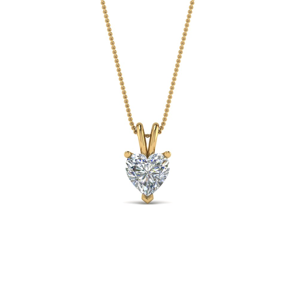 heart solitaire pendant gift for her in FDPD8469HT 0.50CT NL YG