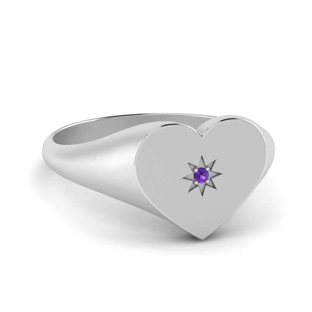 Star Symbol Solitaire Signet Ring
