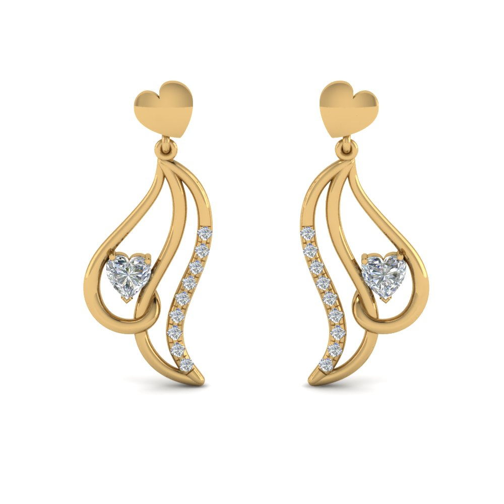 heart stud drop diamond earring for women in 14K yellow gold FDEAR8846 NL YG