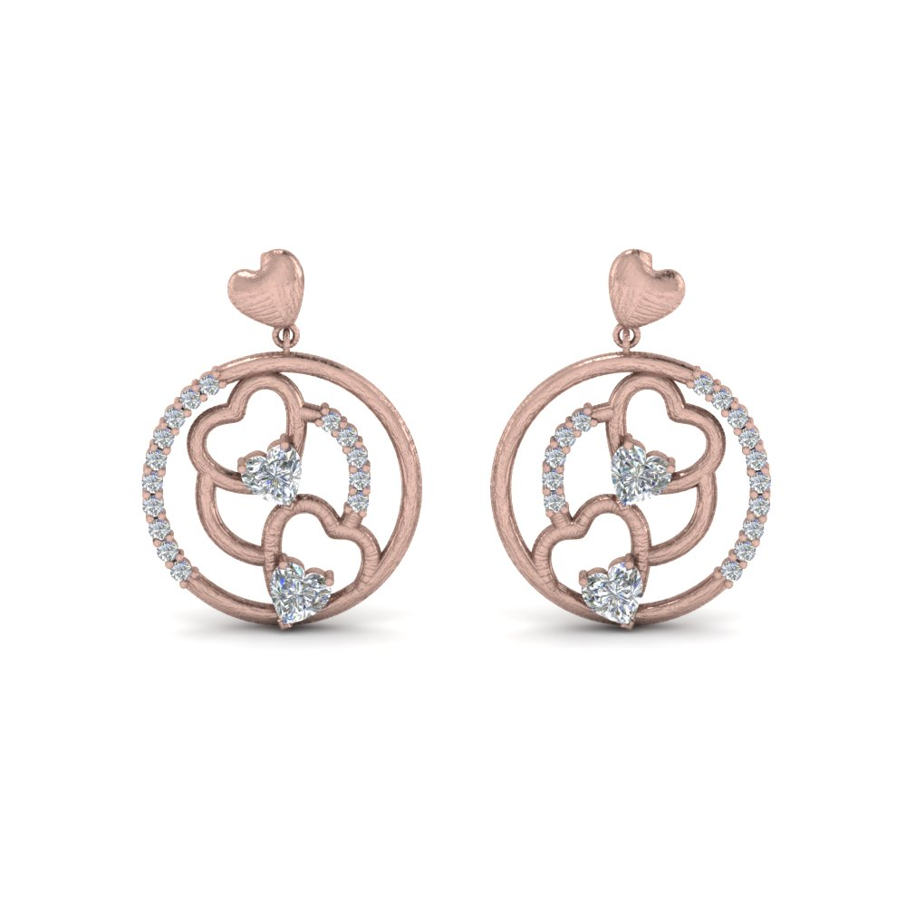 Heart Stud Drop Diamond Earring