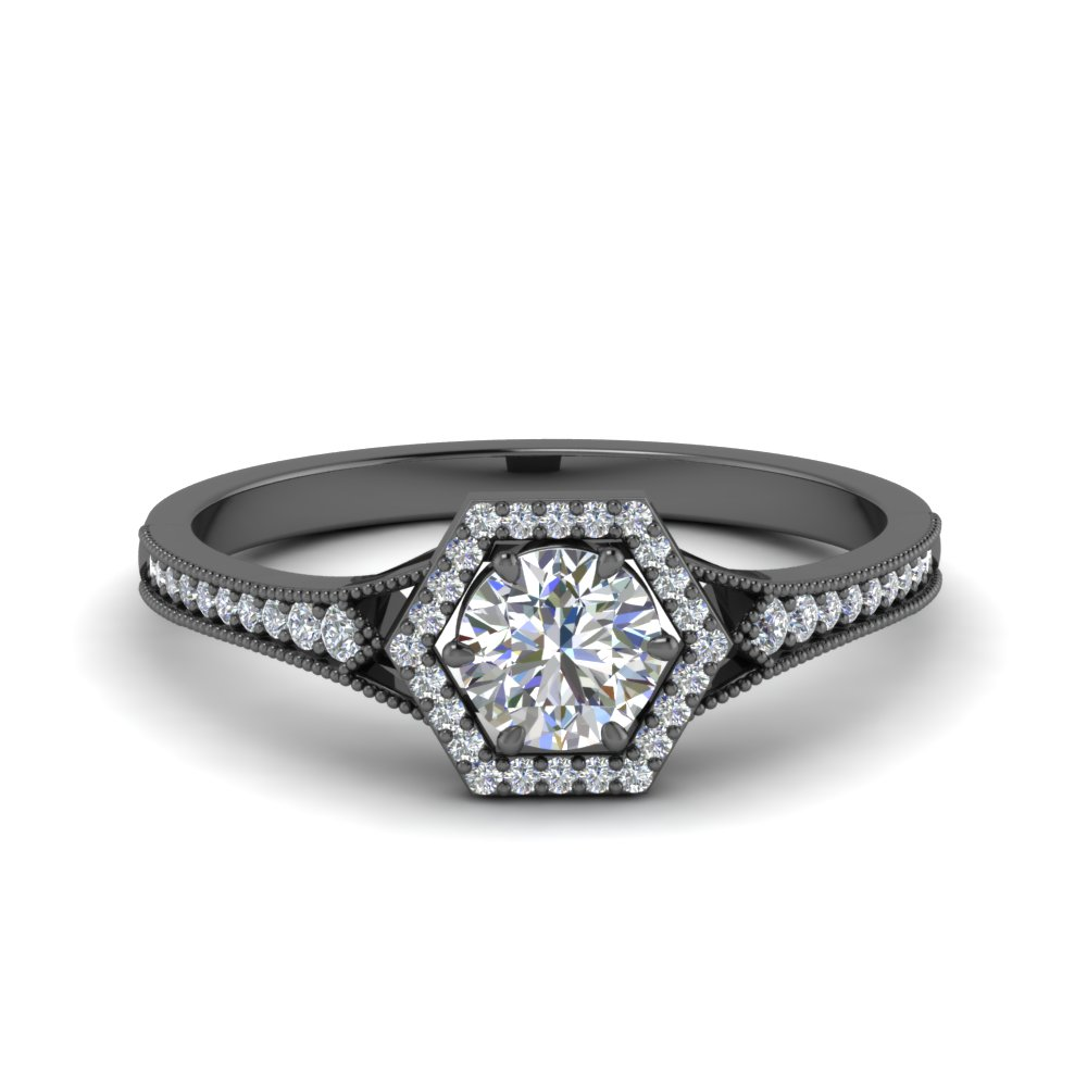 hexagon halo vintage diamond engagement ring in FD8694ROR NL BG.jpg