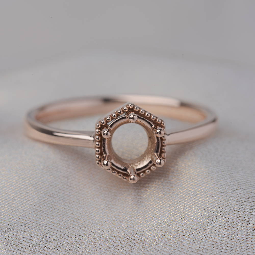 hexagon solitaire ring setting in 14K rose gold FD9162SMRANGLE4