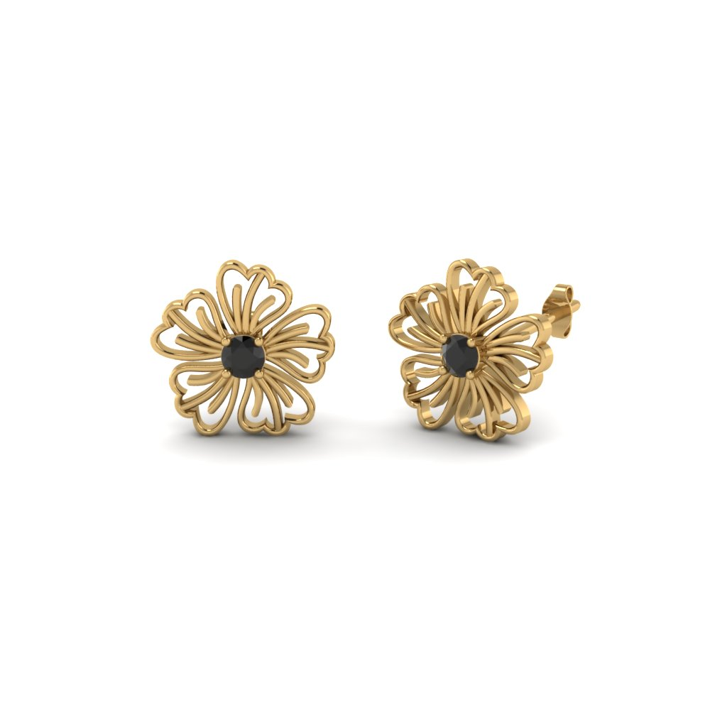 Floral Stud Earrings With Black Diamond