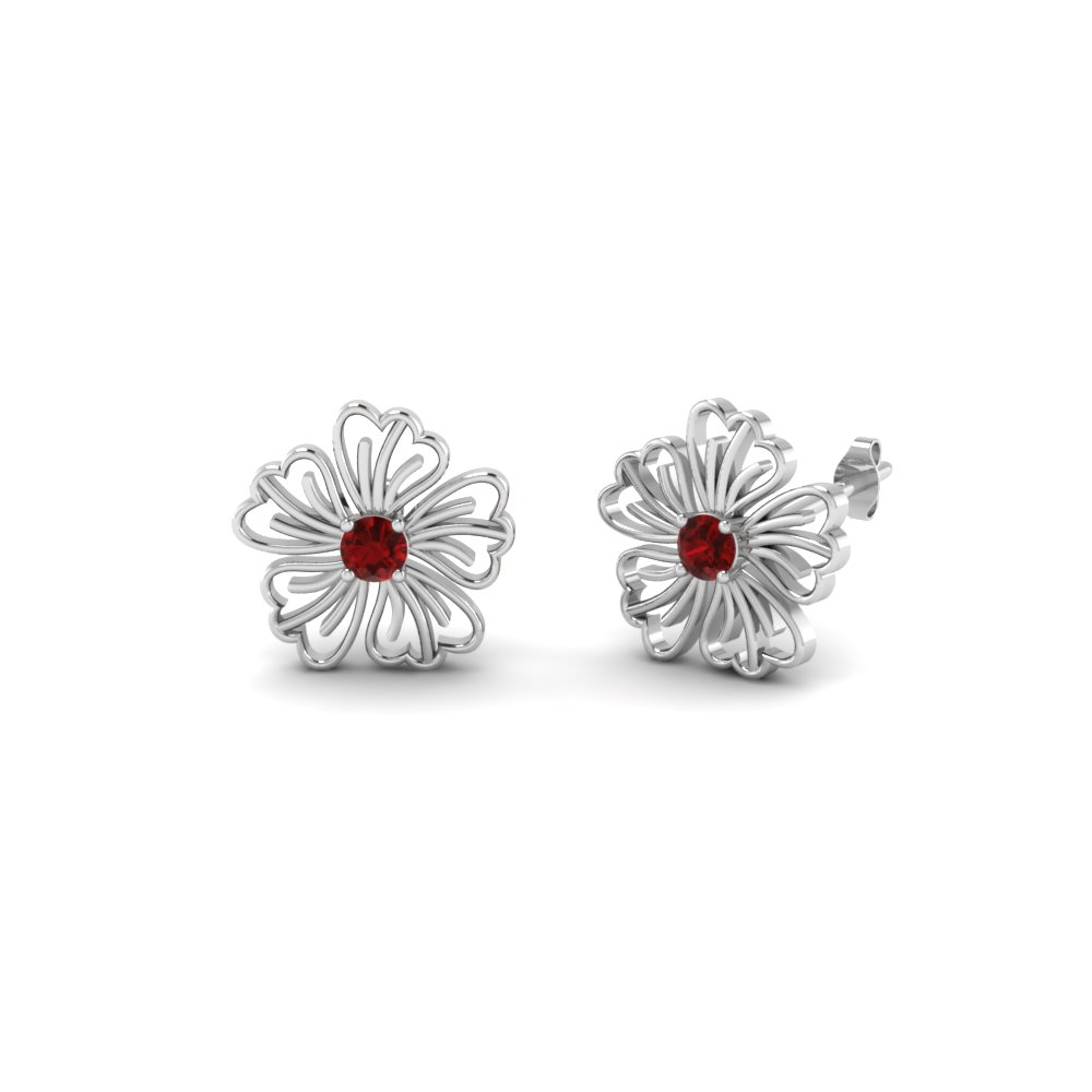 Ruby Hibiscus Earring For Women