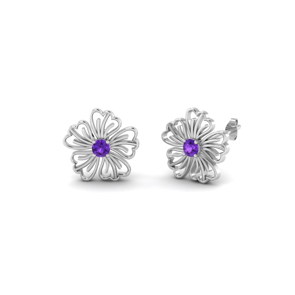 hibiscus purple topaz earring nature inspired for women in FDOEAR40002GVITO NL WG