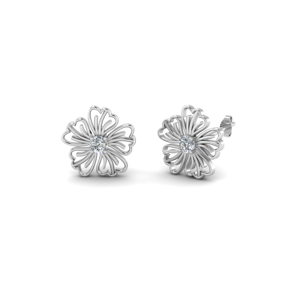 hibiscus flower diamond stud earring in FDOEAR40002 NL WG