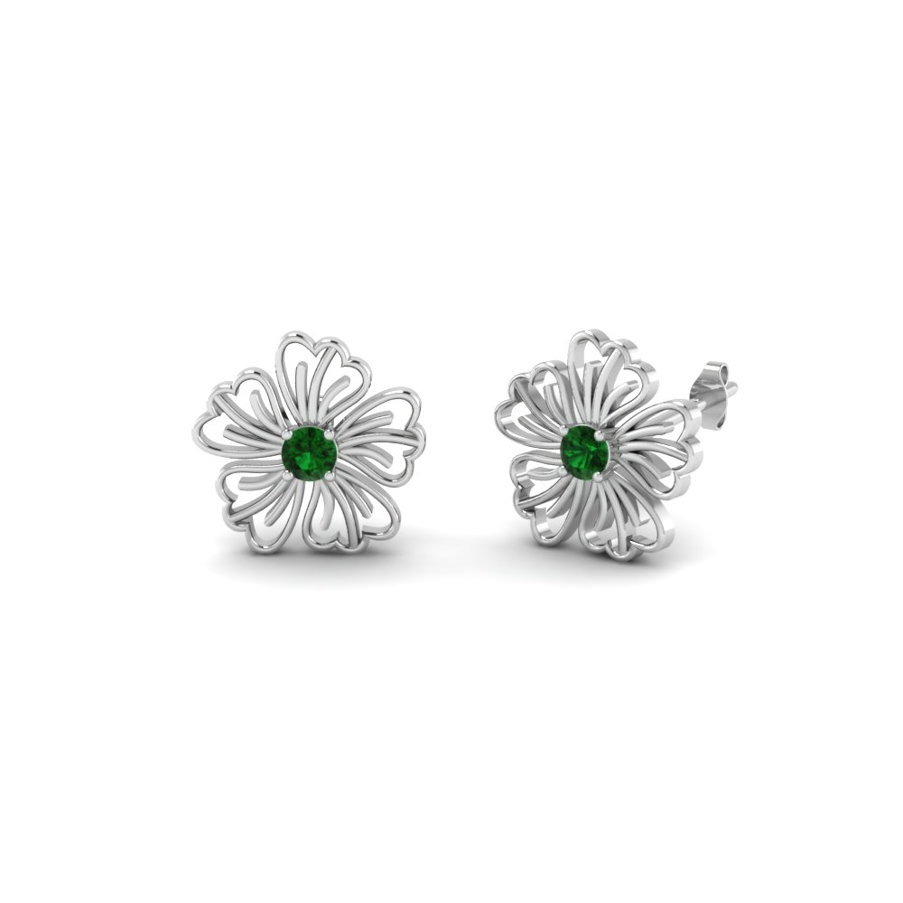 Hibiscus Round Flower Diamond Stud Earring With Emerald In Fdoear40002gemgr Nl Wg