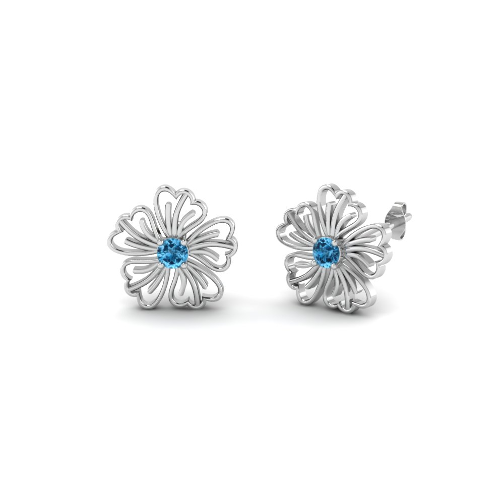 Hibiscus Flower Blue Topaz Earring