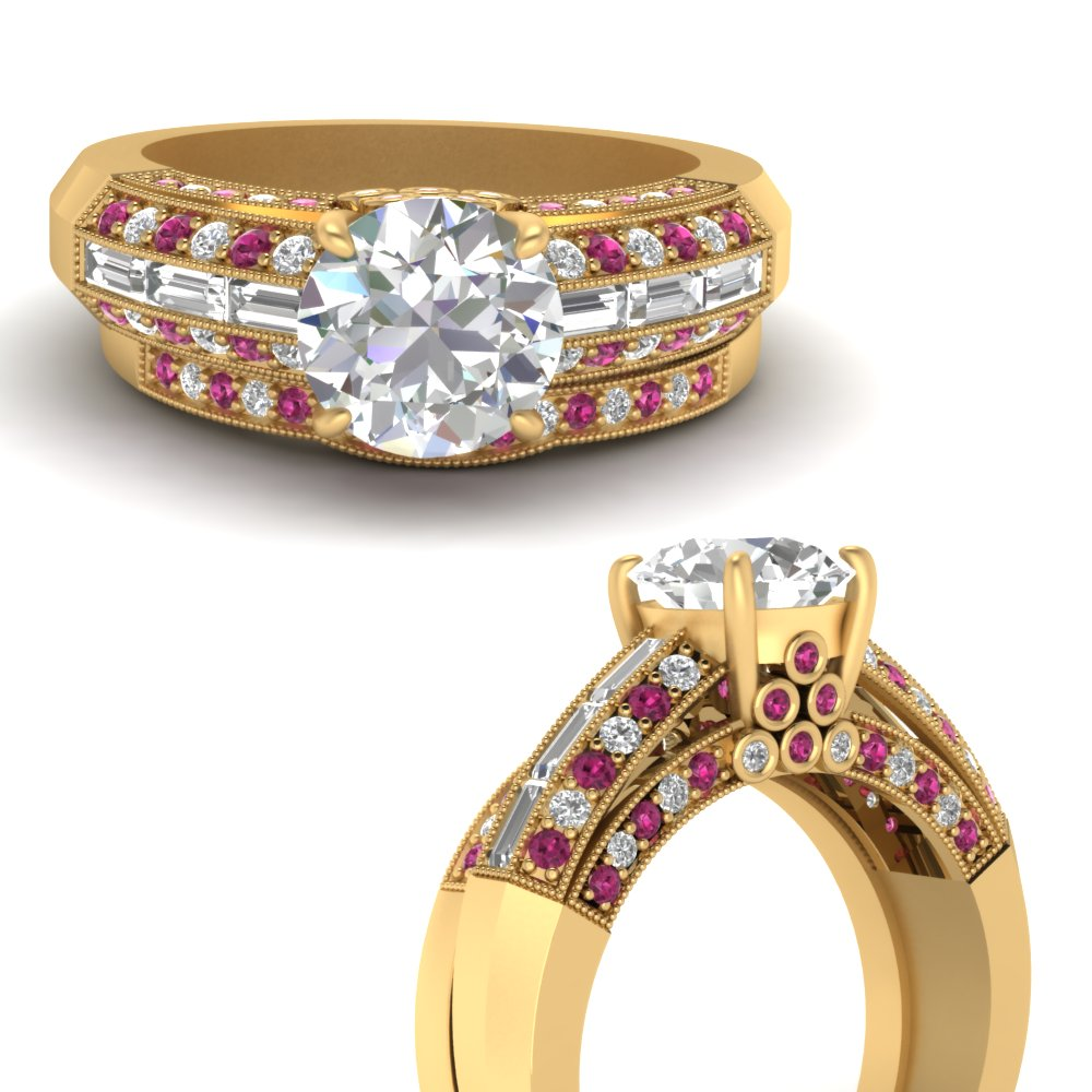 hidden-diamond-vintage-wedding-ring-set-with-pink-sapphire-in-FD9278ROGSADRPIANGLE3-NL-YG