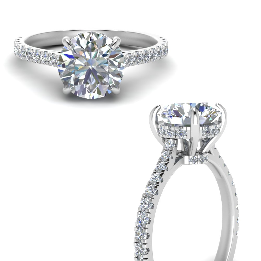 hidden halo pave set round diamond engagement ring in FD9128RORANGLE3 NL WG