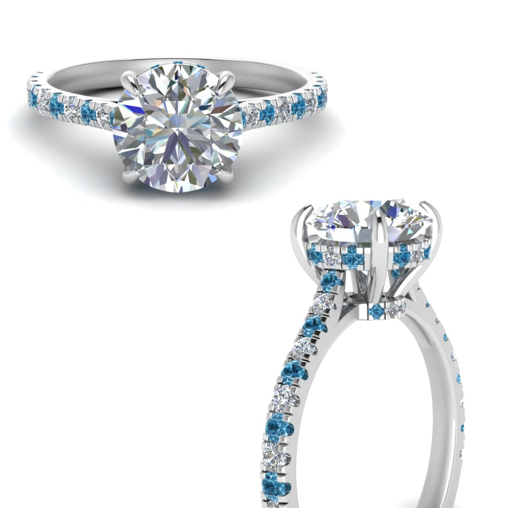 hidden halo pave set round diamond engagement ring with blue topaz in FD9128RORGICBLTOANGLE3 NL WG.jpg