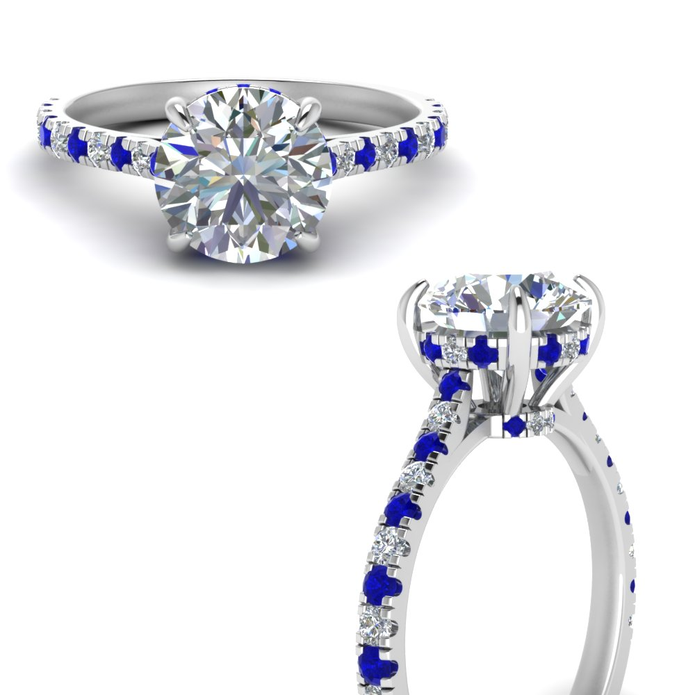 hidden halo pave set round diamond engagement ring with sapphire in FD9128RORGSABLANGLE3 NL WG.jpg
