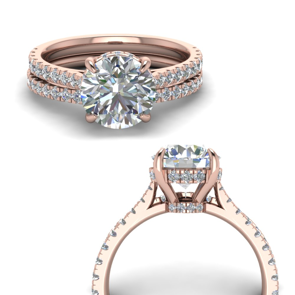 Hidden Halo Diamond Wedding Set