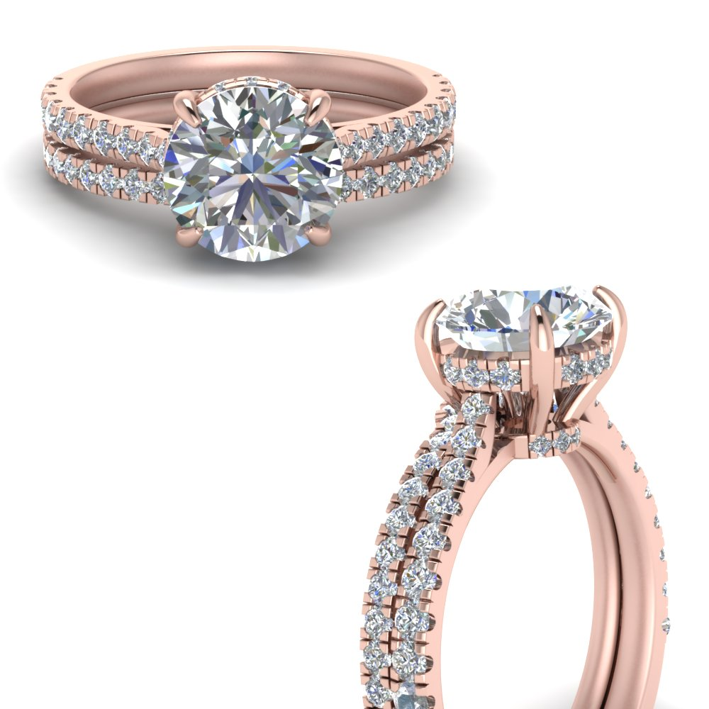 hidden halo pave set diamond ring with curved wedding band in FD9128ROANGLE3 NL RG