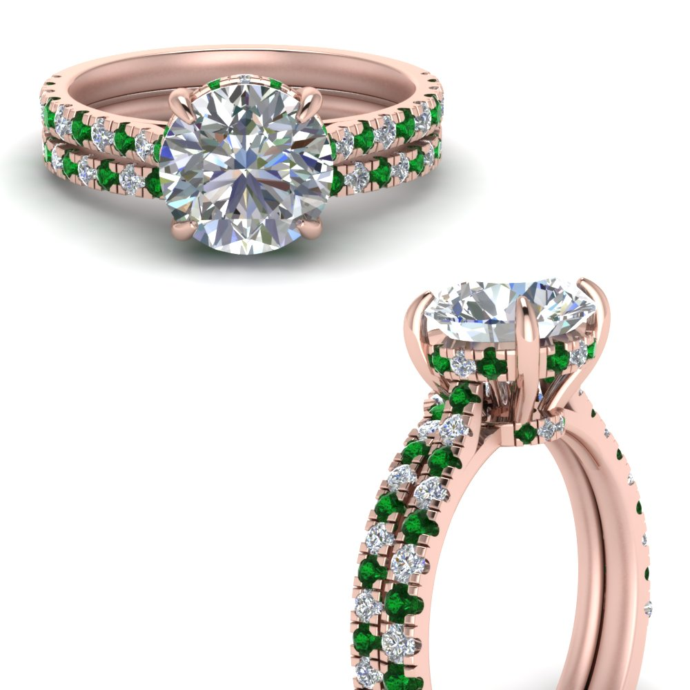 hidden halo pave set diamond ring with emerald curved wedding band in FD9128ROGEMGRANGLE3 NL RG.jpg