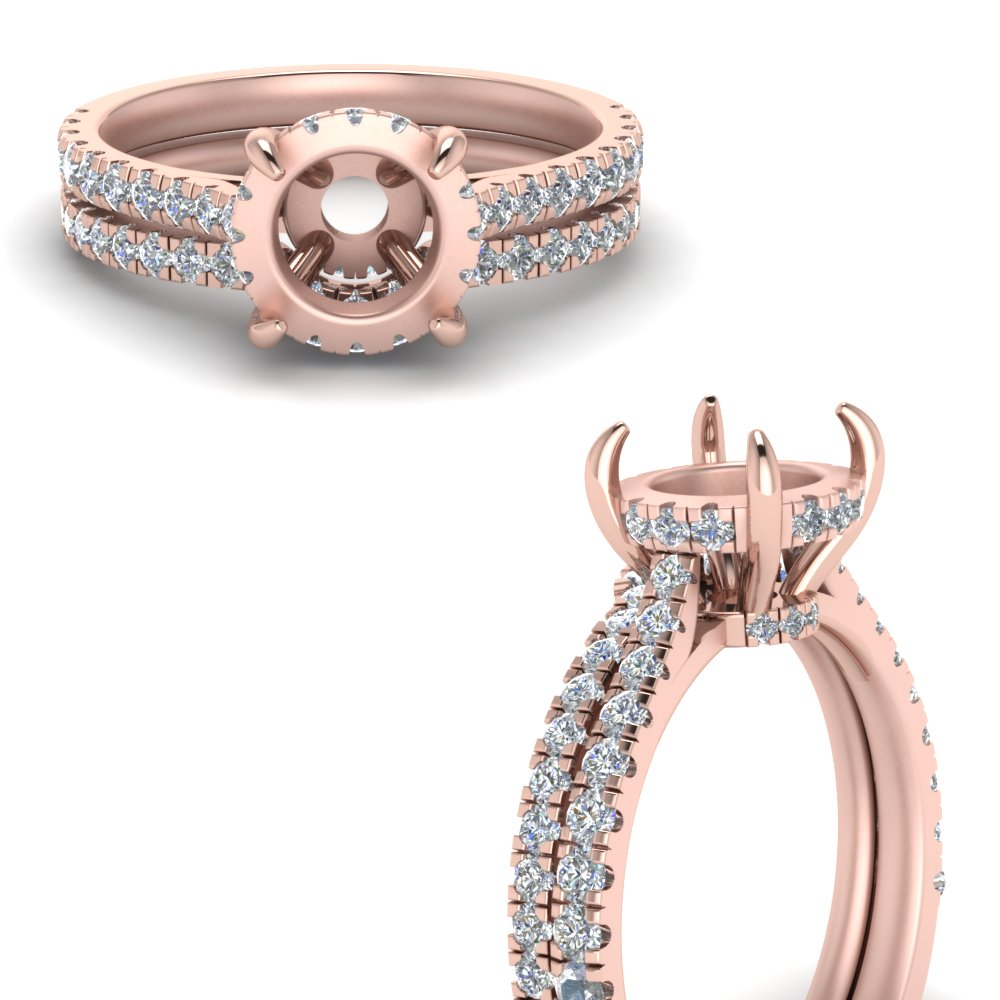 semi mount hidden halo pave set diamond ring with curved wedding band in FD9128SMANGLE3 NL RG