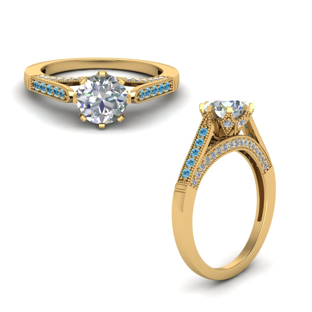 high set milgrain diamond engagement ring with blue topaz in FDENR8668RORGICBLTOANGLE1 NL YG.jpg