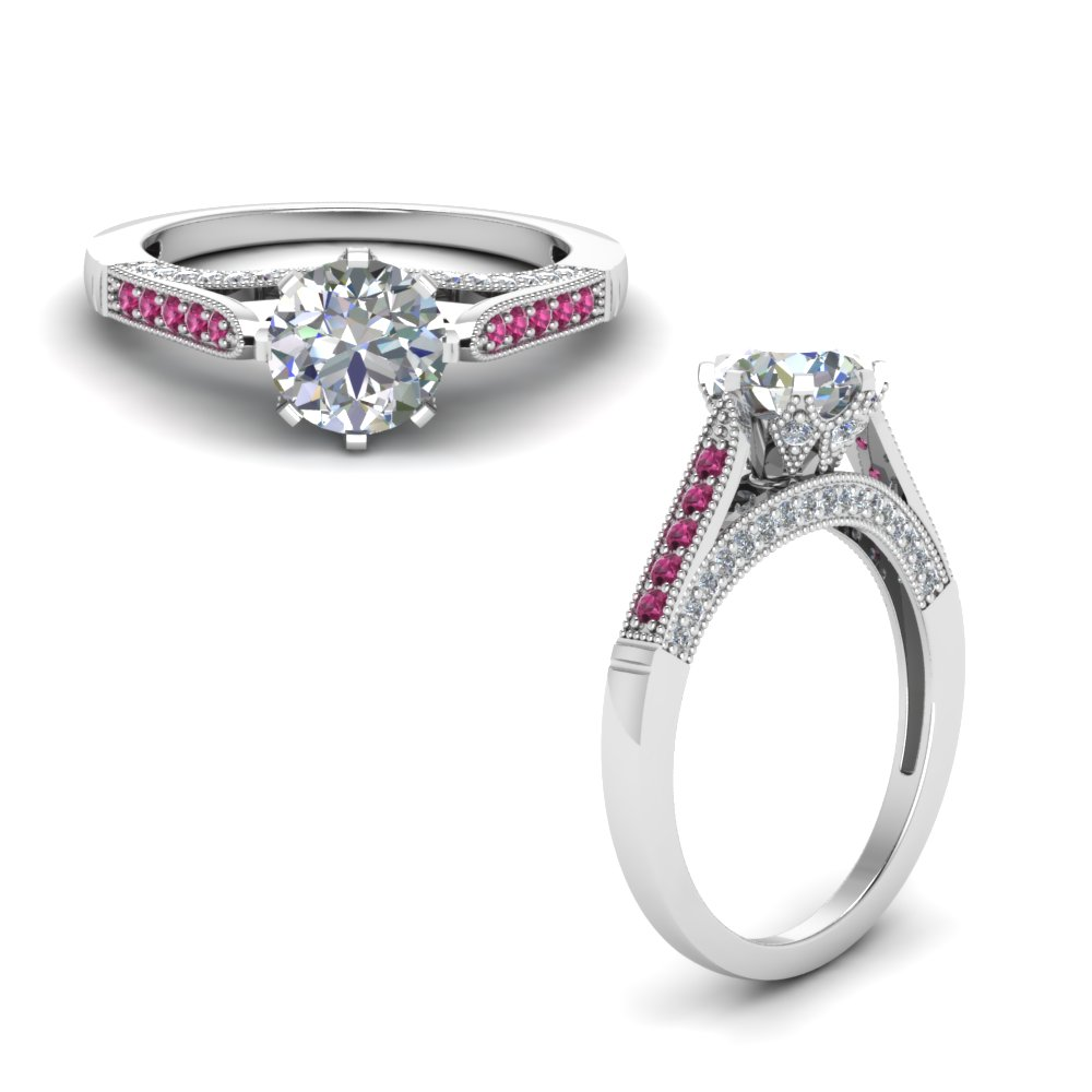 high set milgrain diamond engagement ring with pink sapphire in FDENR8668RORGSADRPIANGLE1 NL WG.jpg