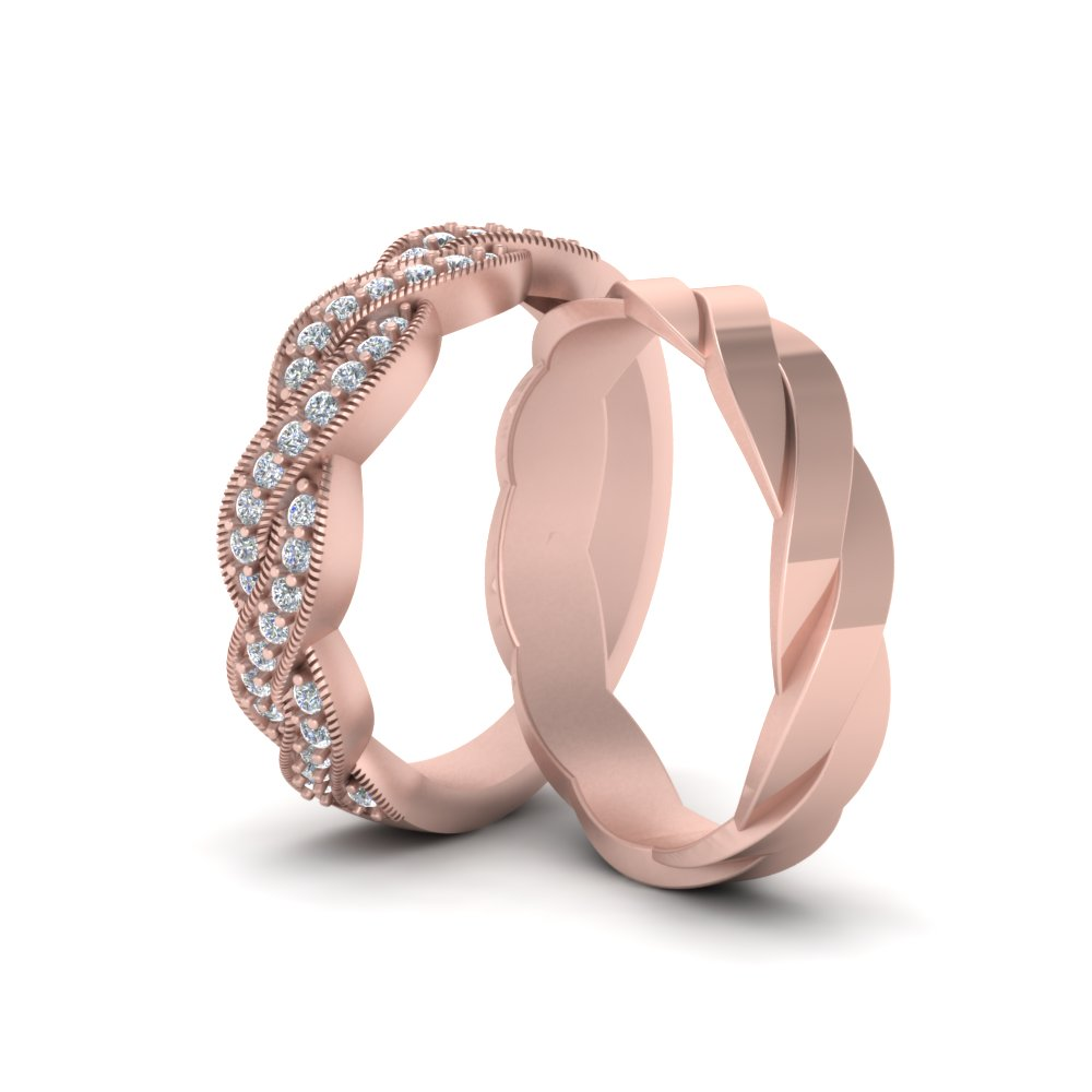 His And Her Twisted Matching Diamond Band In 14K Rose Gold ...