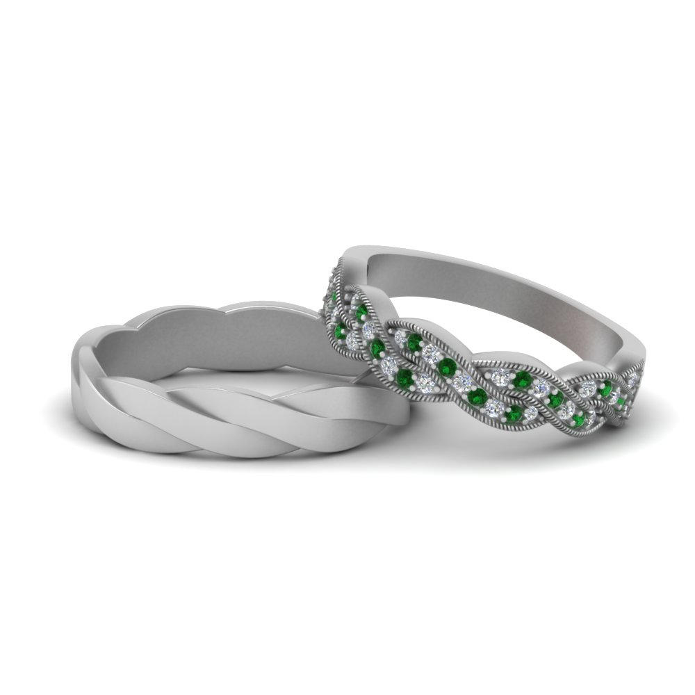 Twisted Matching Band With Emerald