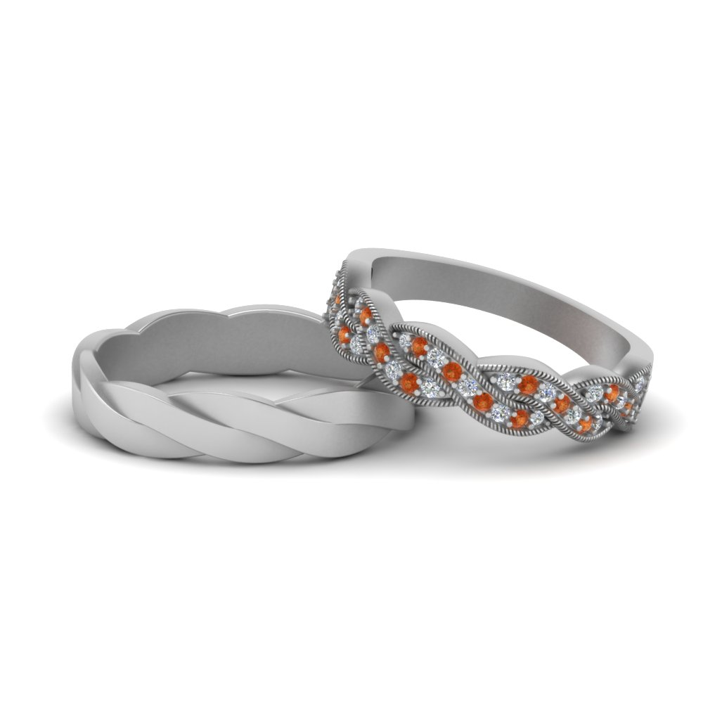 Orange Sapphire Band For His And Her