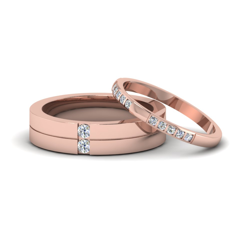 His And Hers Matching Diamond Annivesary Wedding Bands Gifts In 14k Rose Gold Fd8084b Nl Rg