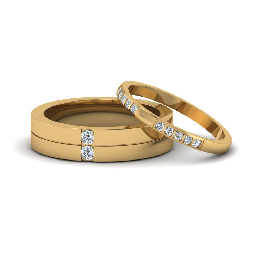his and hers matching diamond annivesary wedding bands gifts in 14K yellow gold FD8084B NL YG