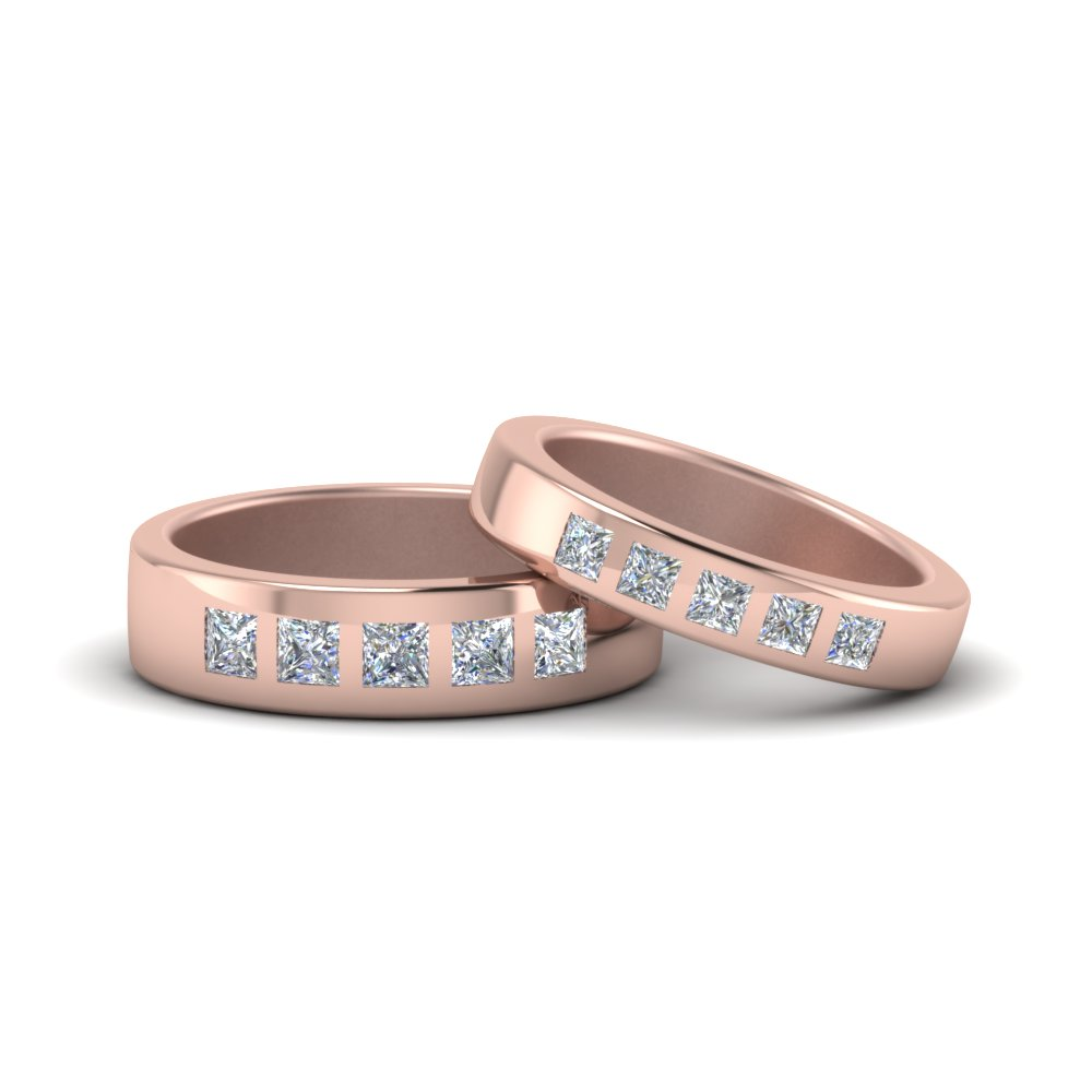 Princess Cut His And Hers Matching Wedding Bands