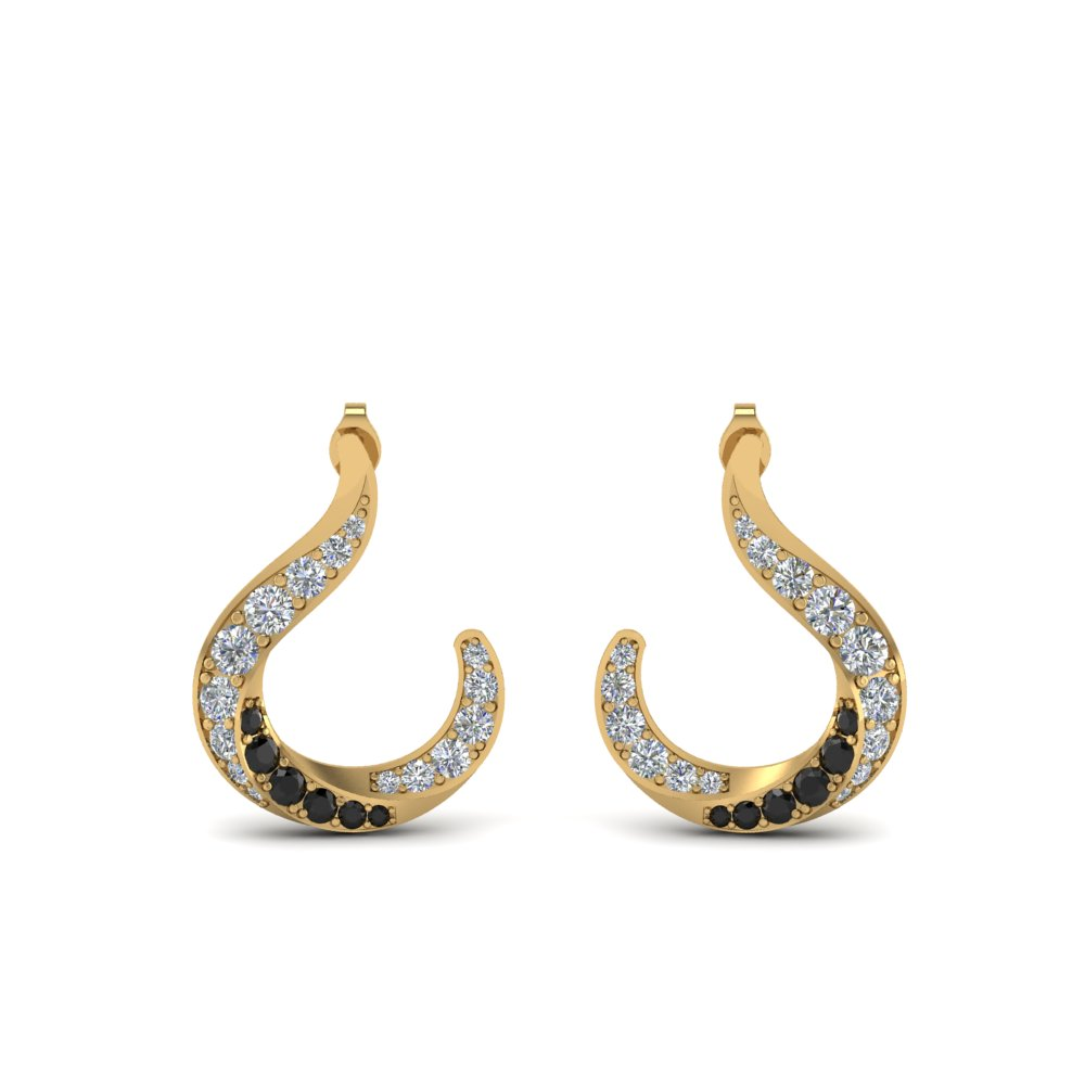 hook stud earring with black diamond in FDEAR86505GBLACK NL YG