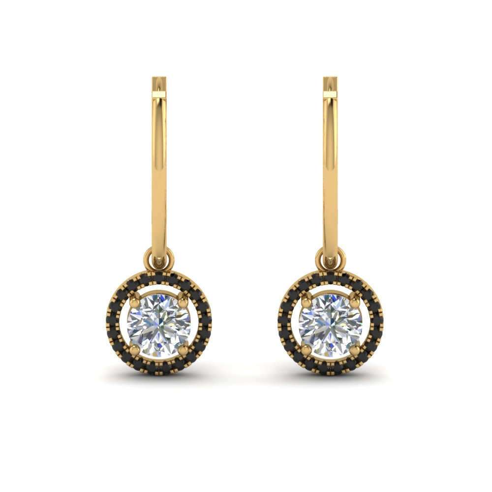 Hoop Drop Black Diamond Earring