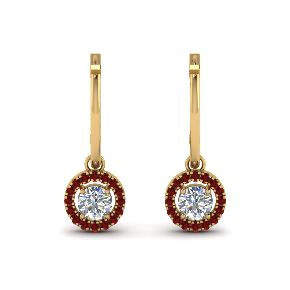 hoop drop diamond ruby halo earring in FDEAR8973GRUDRANGLE1 NL YG