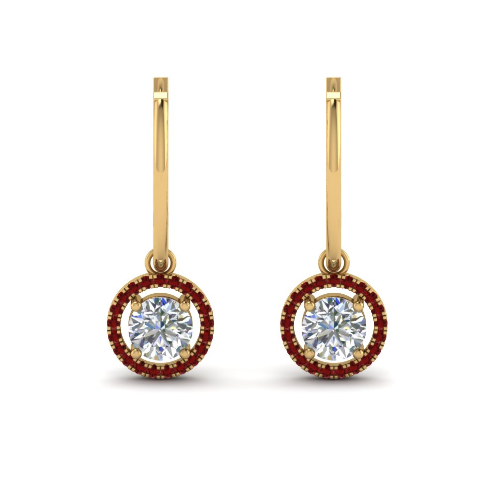 Drop Halo Earring With Ruby