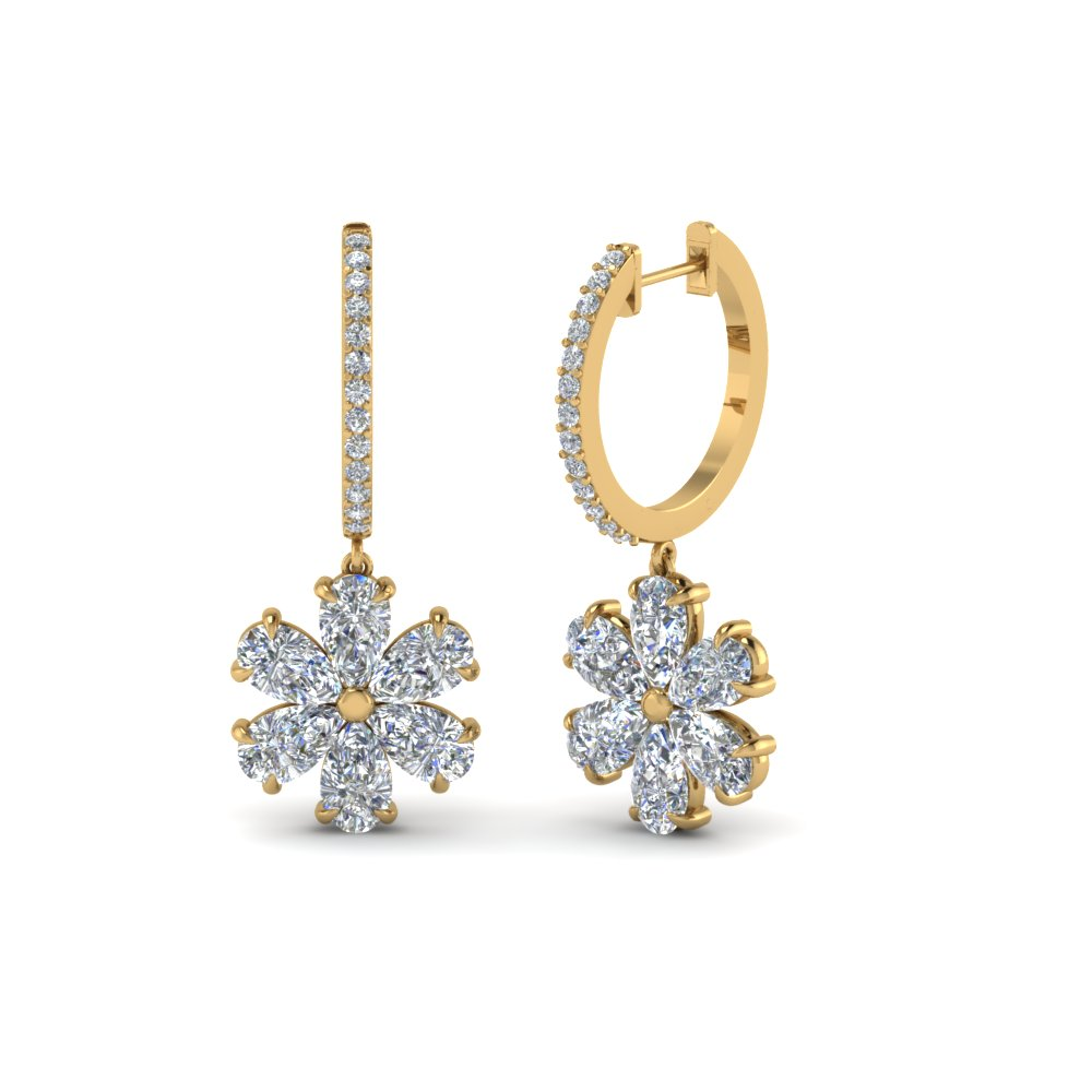 Pear Shaped Floral Diamond Hoop Earrings