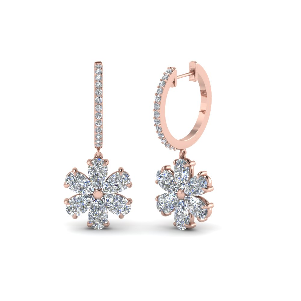 Floral Diamond Drop Earring