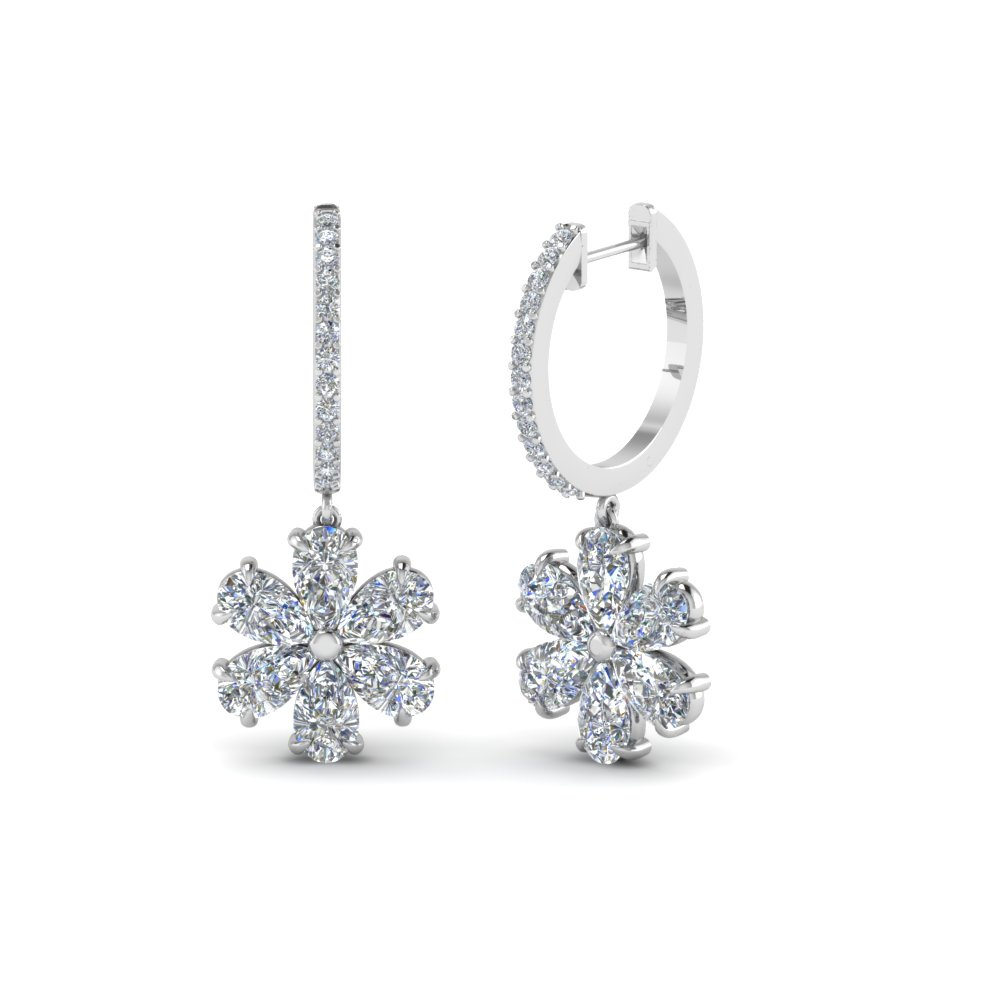 floral pear drop hoop diamond earring in 18K white gold FDEAR8193 NL WG