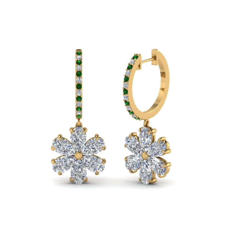 floral pear drop hoop diamond earring with emerald in 14K yellow gold FDEAR8193GEMGR NL YG